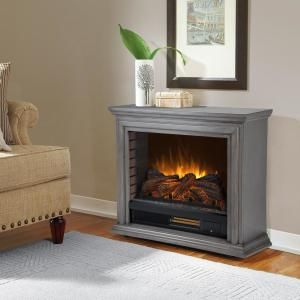 Pleasant Hearth Sheridan 32 In Freestanding Mobile Infrared Electric Fireplace In Dark Weathered Gray Glf 5002 205 The Home Depot Electric Fireplace Portable Fireplace Infrared Fireplace