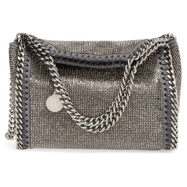 Women's Stella Mccartney 'Mini Falabella - Dot' Crystal Embellished... ($1,345) ❤ liked on Polyvore featuring bags, handbags, shoulder bags, ruthenium, chain crossbody, crossbody purse, mini shoulder bag, chain shoulder bag and crossbody handbag