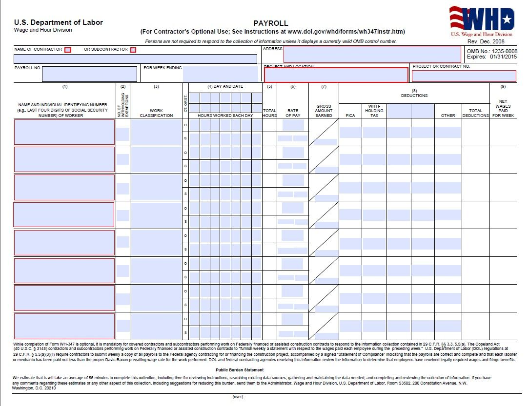 Certified Payroll Form Page 1 WH347 – Certified Payroll Form