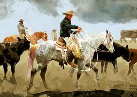 """Artist and painter Don Weller's """"Carter's Gray, Hardy's Blacks,"""" Original fine Western art watercolor cowboy painting of horses and riders with lassoes"""