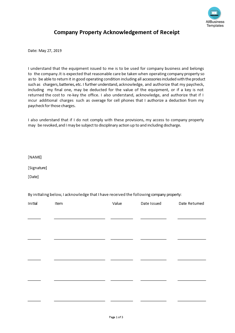 How To Draft An Acknowledgement Letter Have A Look At This Sample Acknowledgement For Company Property Template N Templates Business Template Letter Templates