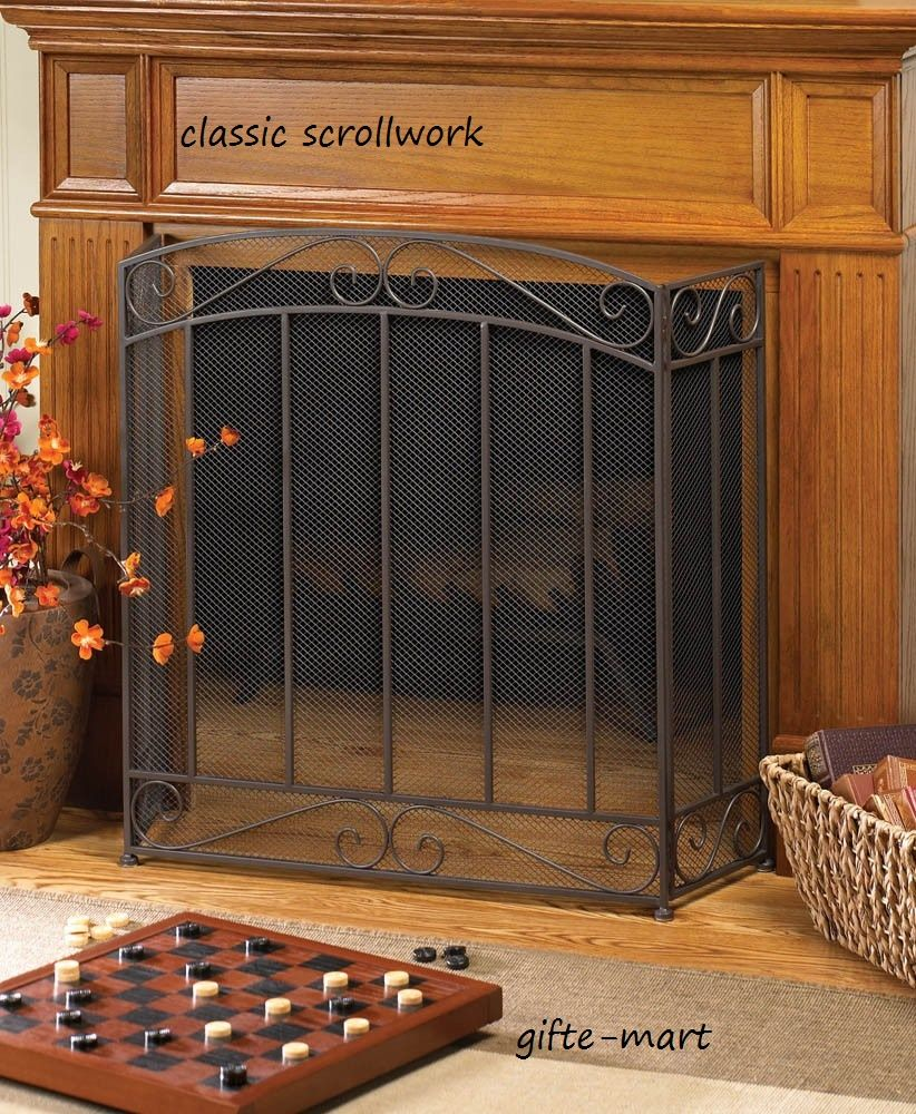 classic scrollwork industrial   folding triple 3 panel WROUGHT IRON cottage hearth portable mesh fire fireplace screen