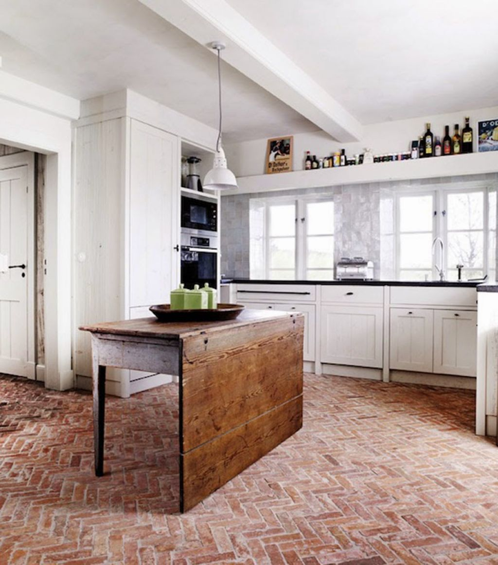 Brick Floor Care Tips in 2019 | Brick floor kitchen, Brick ...