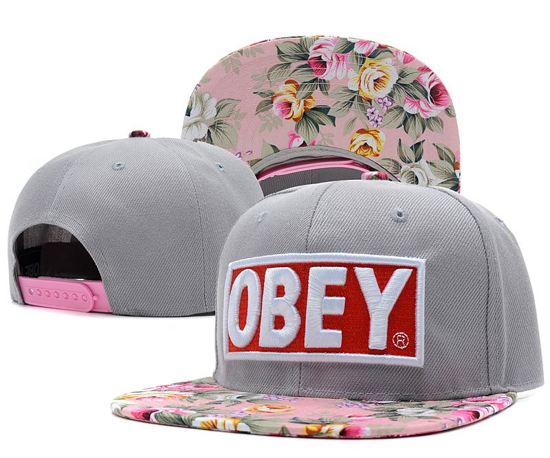 OBEY Snapback Hats Flower Gray  48d02da2643