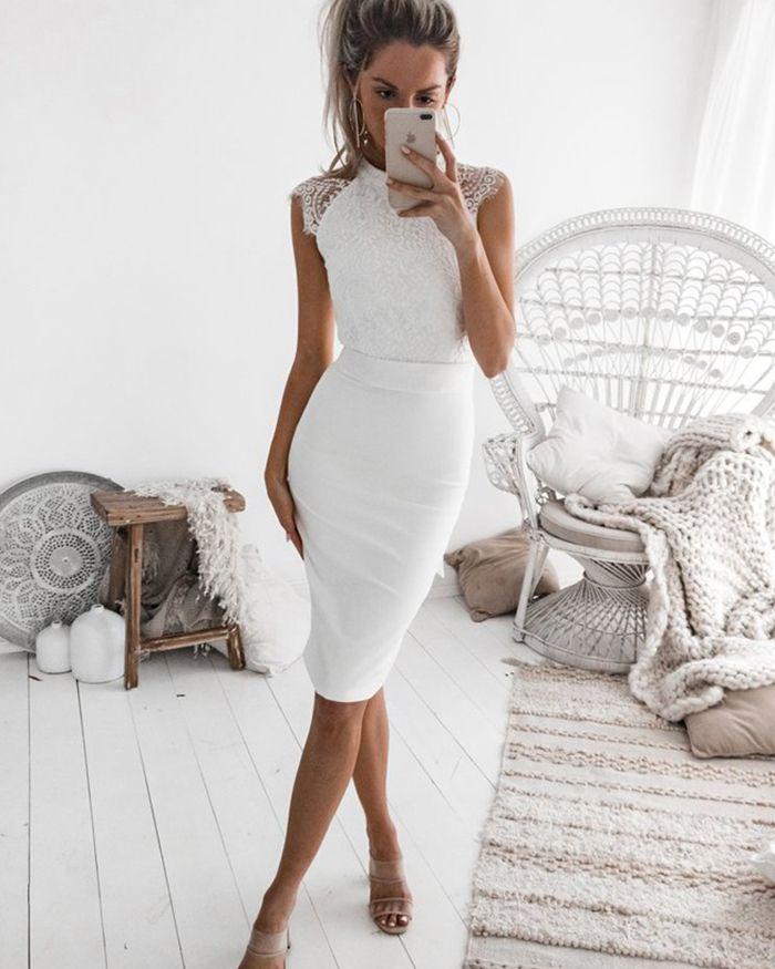 Photo of High Neck White Tight Lace Bodice Satin Sheath Club Dress HD3163