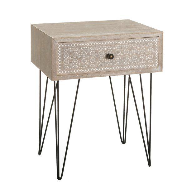 Ajka 1 Drawer Bedside Table In 2020 Industrial Furniture