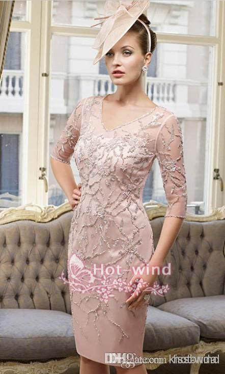 Wholesale Mother of the Bride Dress - Buy 2014 Mother of the Bride Dresses Sheer V Neck Half Long Sleeves Sequins Beaded Illusion Zipper Back Knee Length Short Evening Gowns BO4399, $114.37 | DHgate