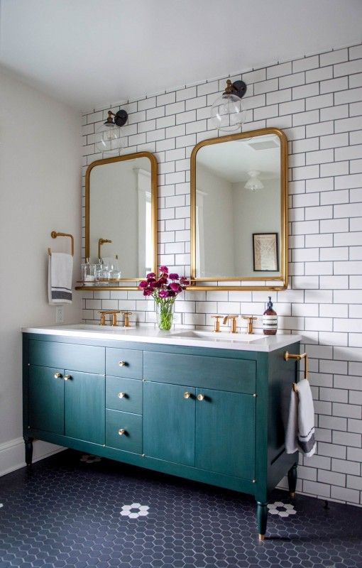 bathroom remodel with gold mirrors and faucets schoolhouse lighting rh pinterest com