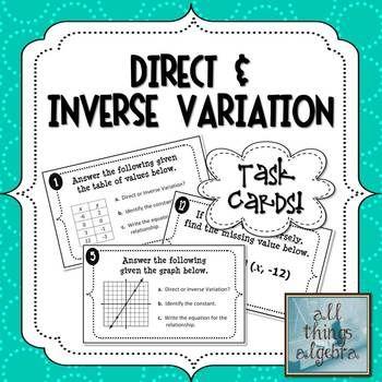 Direct and Inverse Variation - Notes, Homework, Activities, and ...