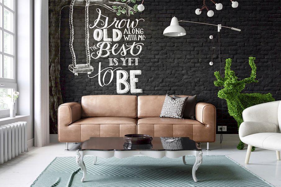Черная кирпичная стена в интерьере гостиной #кирпич #дизайн #интерьер #декор #тренды #стиль #стена #лофт #brick #wall #interior #design