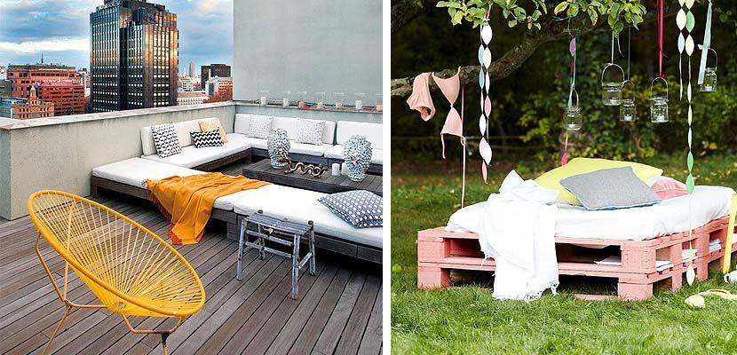 espacios chill out con palets en jardines y terrazas