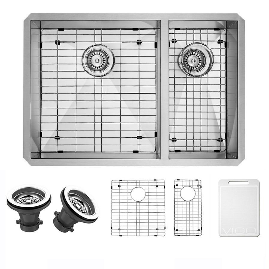 Ruvati Nesta 29 L X 19 W Double Basin Undermount Kitchen Sink Stainless Steel Kitchen Sink Undermount Stainless Steel Undermount Undermount Kitchen Sinks