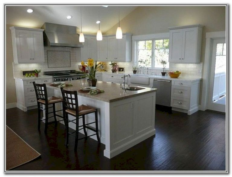 40 Fantastic White Kitchens Decoration Ideas With Amazing Dark Floors White Shaker Kitchen White Shaker Kitchen Cabinets Wood Floor Kitchen