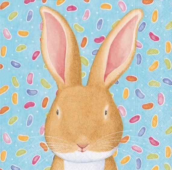 Wabbit Paper - 4 Paper Napkins for decoupage, napkin art, junk journaling, napkin craft, scrapbookin #papernapkins