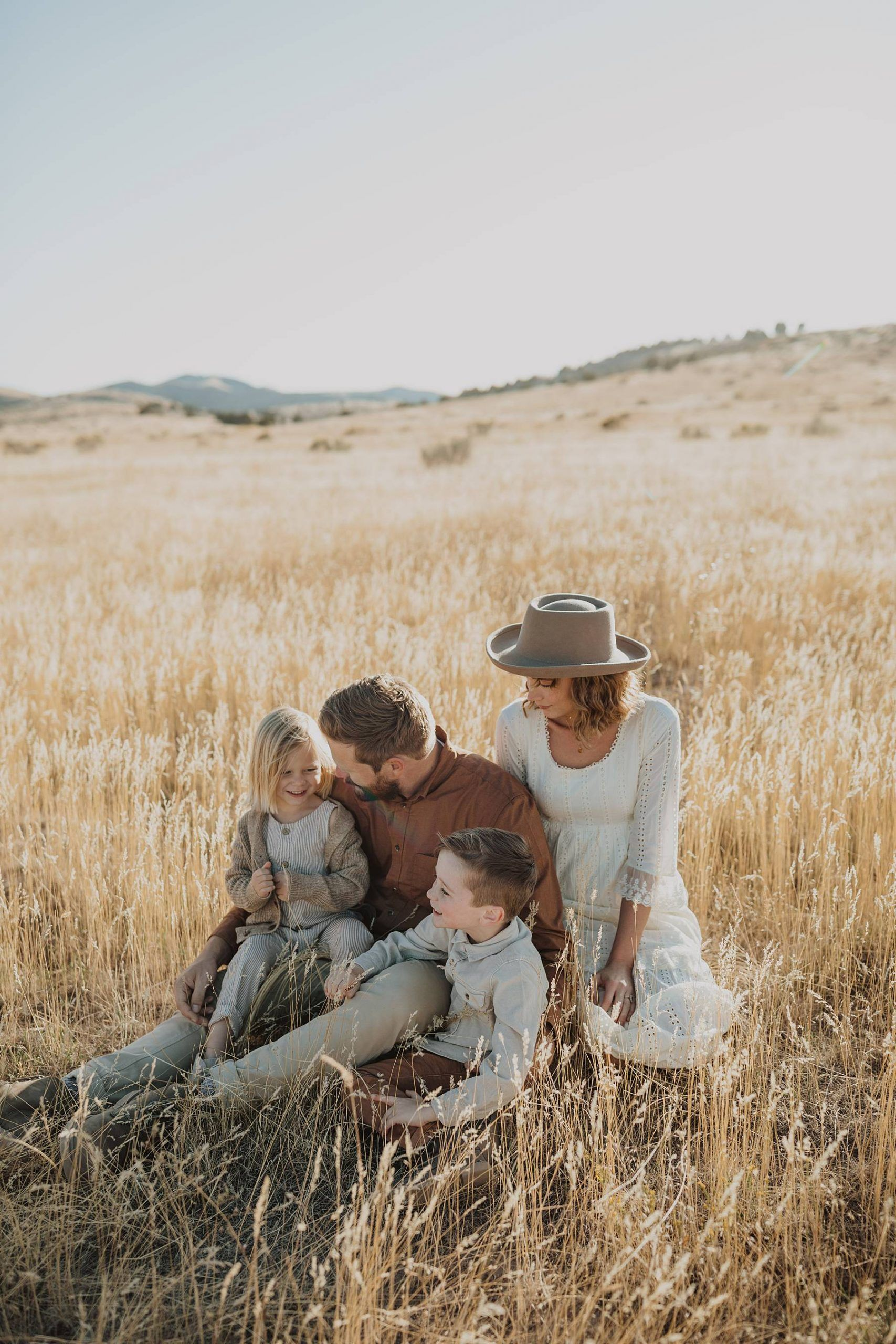 Family Yellow Grass Field Photos