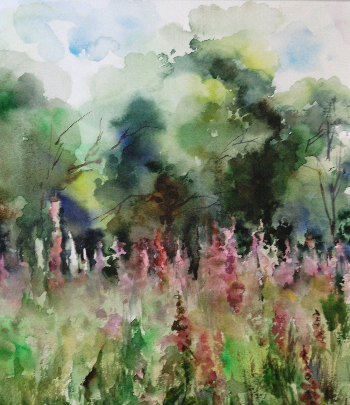 Pink Meadow Summer Landscape Painting Original Watercolor Etsy