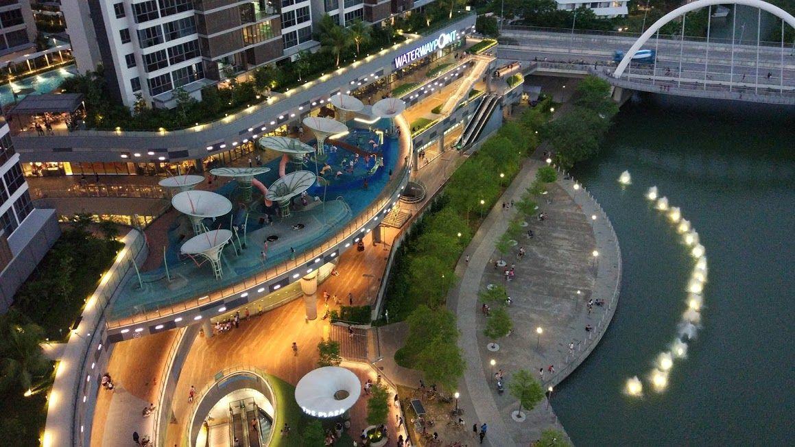 Aerial View Of Punggol Waterway Park Waterway Aerial View Marina Bay Sands