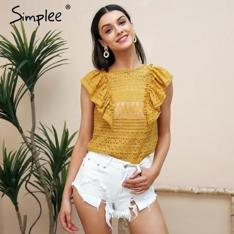09c2ac63399 Simplee Sexy sleeveless ruffle lace blouse women O neck transparent white  blouse shirt 2018 Elegant summer blusa feminian top