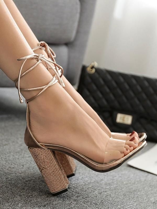 Golden Round Toe Chunky Rhinestone Sequin Fashion High Heeled Sandals Heels High Heel Sandals High Heels
