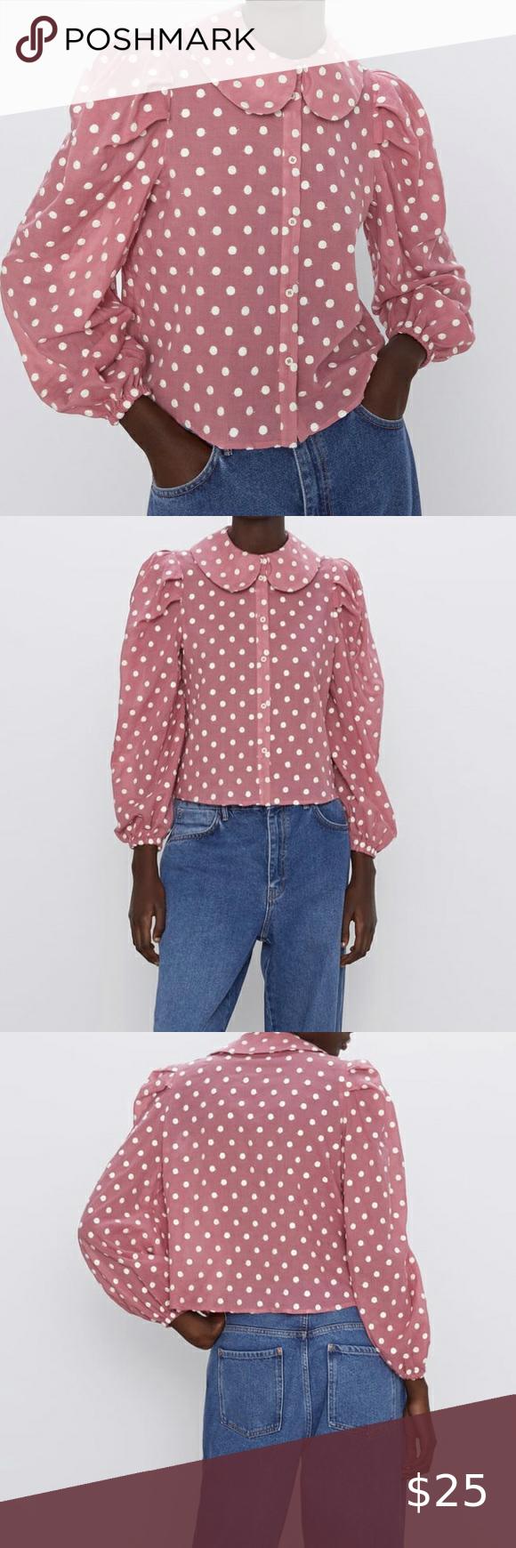 Pink And White Polka Dot Shirt