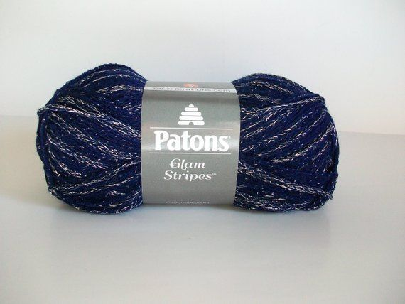 Navy Blue Silver Patons Glam Yarn Stripes Dk Light Worsted Vegan