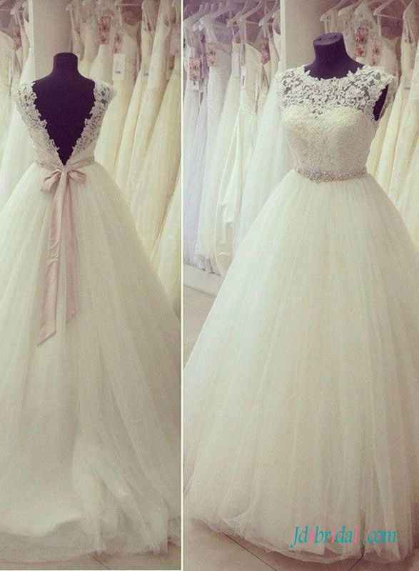 Sweety illusion lace scoop neck open back princess wedding dress ...