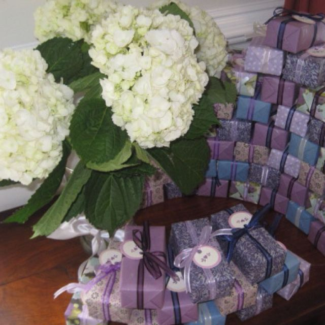 Individually wrapped Bridal shower favors in wedding colors
