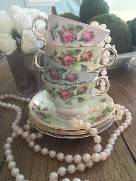Vintage Colclough teacup and saucer sets, English tea cup, English bone china