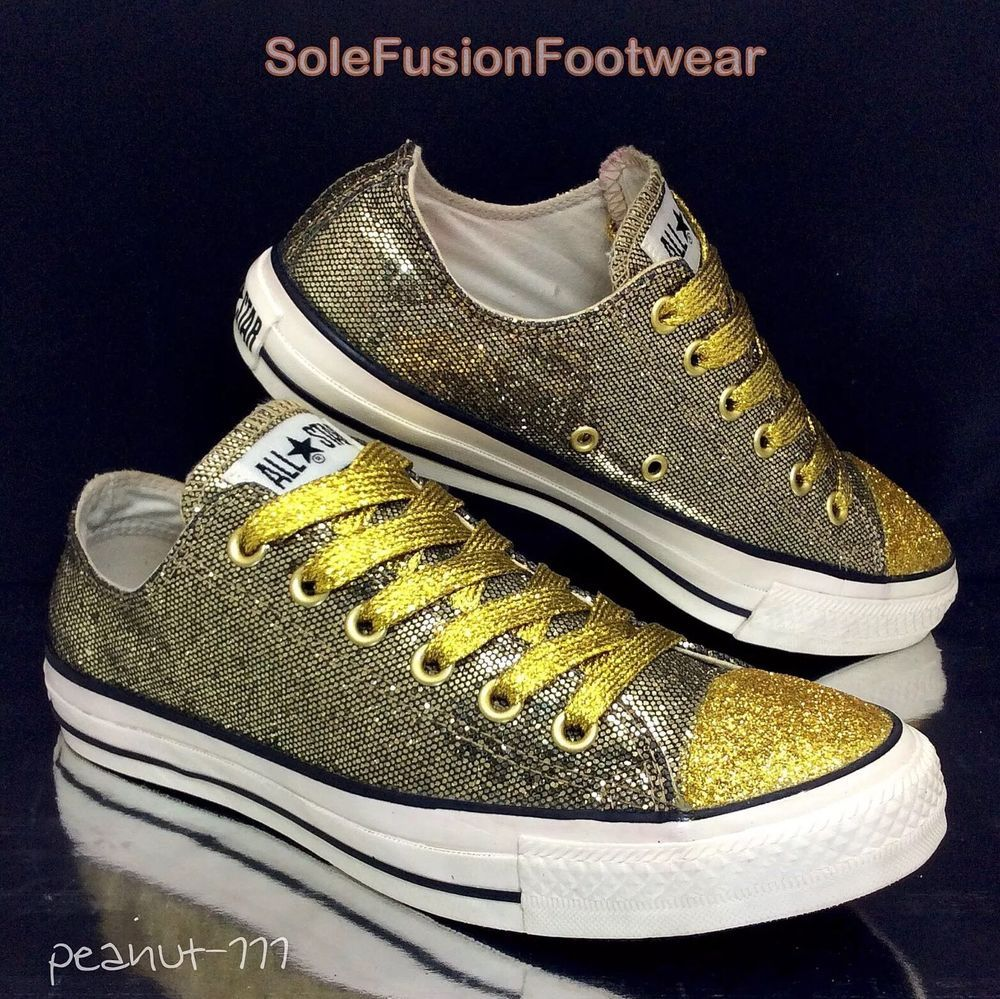 f29c4ea1f2db Converse womens All Star Party Sparkle Trainers Gold sz 7 Glitter Bling 40  US 9