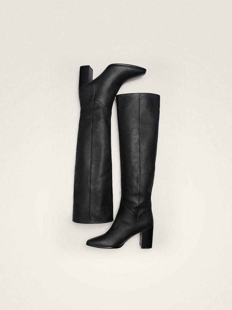 Μαυρεσ δερματινεσ μποτεσ με τακουνι in 2019   Leather heeled