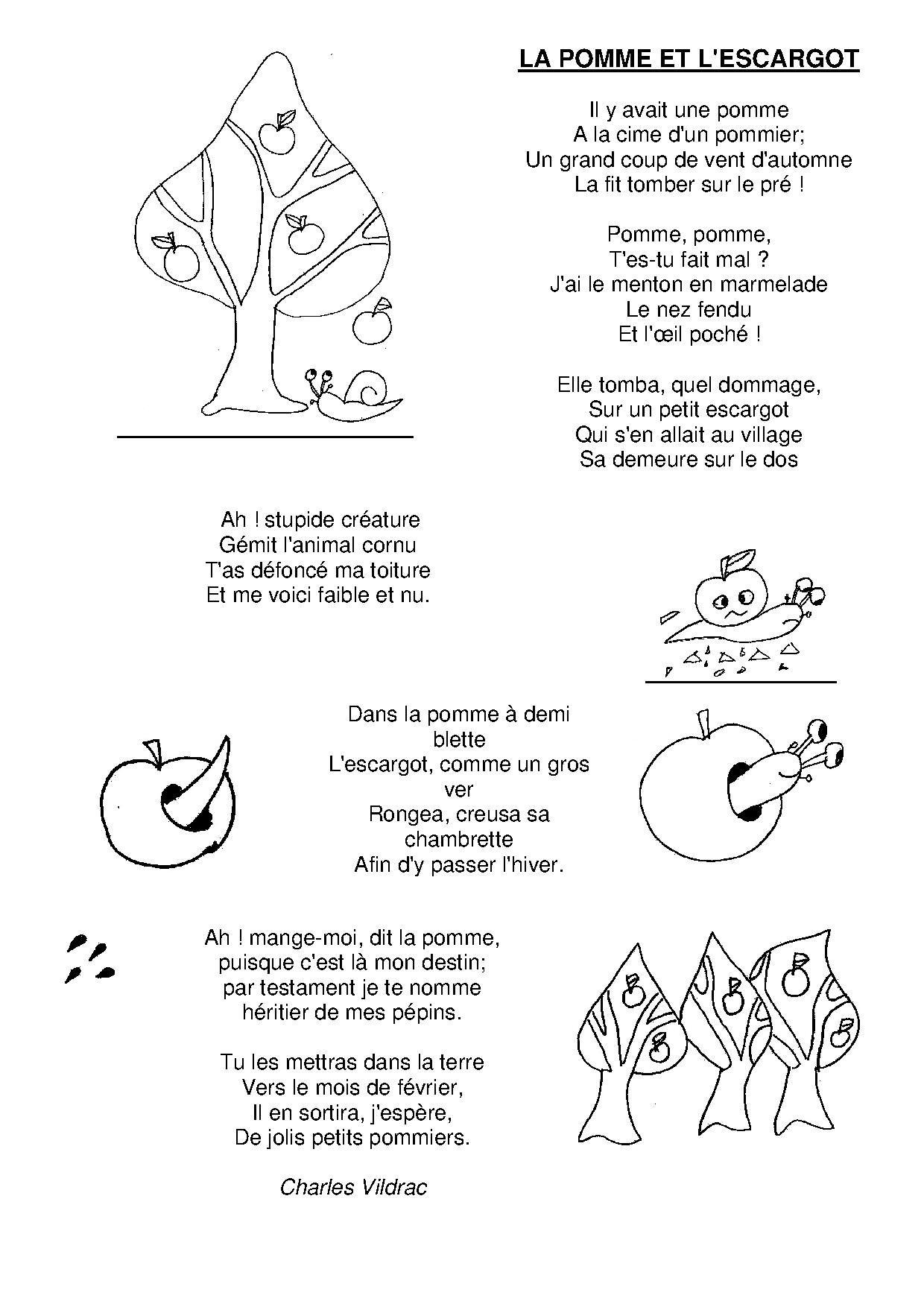La pomme et l 39 escargot comptines pinterest escargot - Escargot maternelle ...