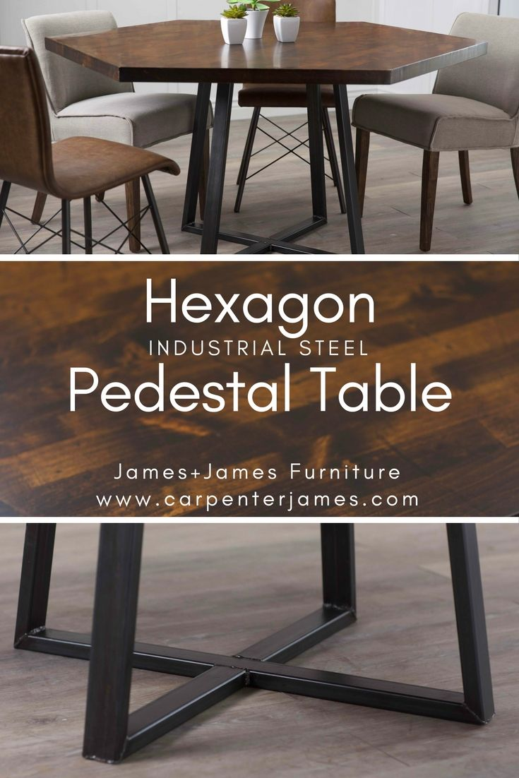 hexagon industrial steel pedestal table wooddons analog rh pinterest com