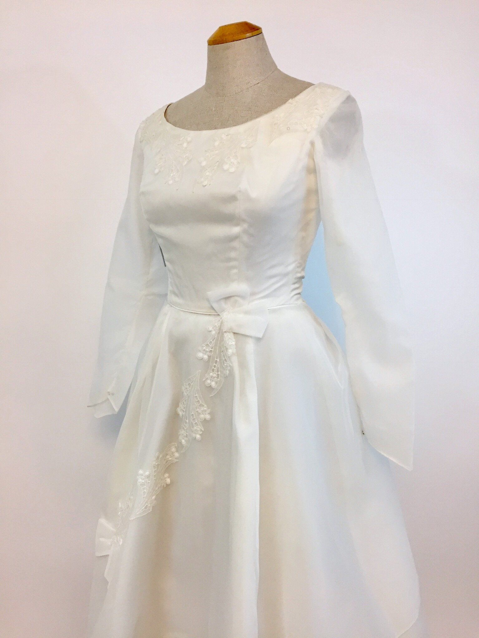 """Posey"" Floral 1960s Wedding Dress, Size XS 1960s"