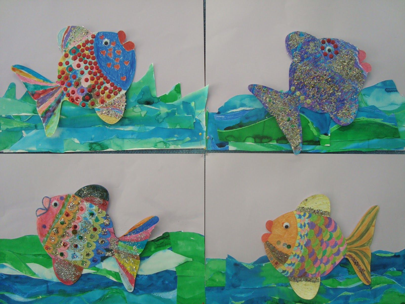Once upon an art room ocean animals 1st grade art for Fish art and craft