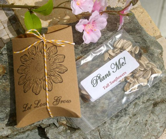 Sunflower Wedding Favor Ideas: Let Love Grow Wedding Favors With Sunflower Seeds, Set Of