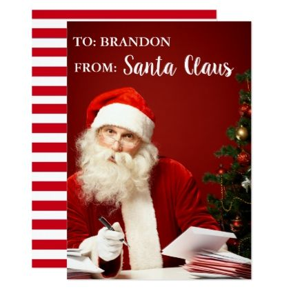From Santa Claus Personalized Add Name Striped Card Xmascards Christmaseve Christmas Eve Christmas Merry X Holiday Design Card Holiday Cards Holiday Card Diy
