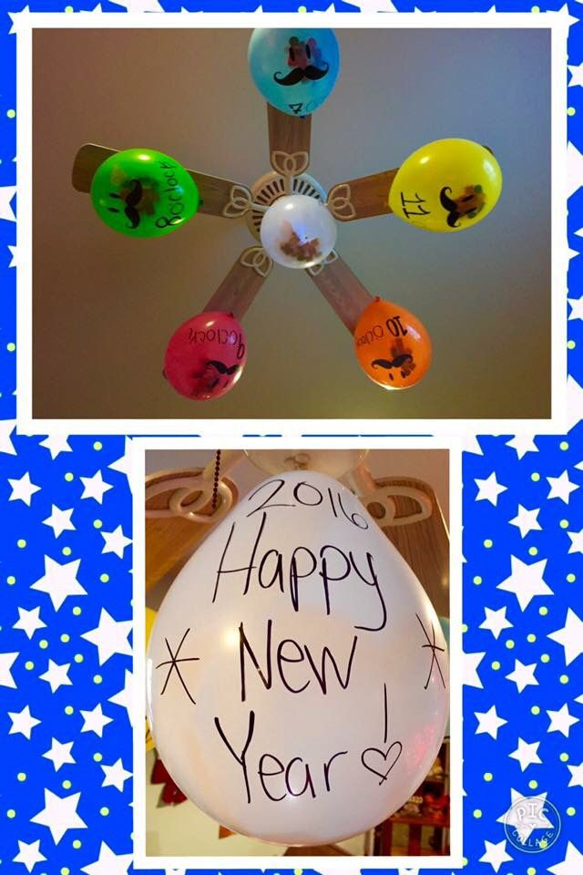 NYE candy in balloons hourly countdown