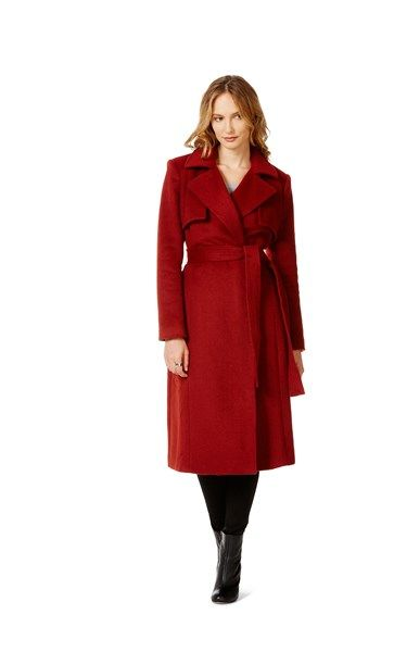 Table Eight Karima Longline Melton Coat   Feels extremely soft but in real life it is a bright rusty orange color... not a deep burnt red like shown in the photograph.