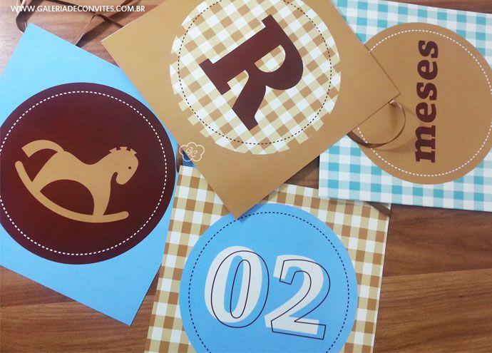 Kit festa personalizado para o mesversário do seu bebê. Tema cavalinho. Kit de mesversário para meninos. Itens prontos para personalizar sua festa.
