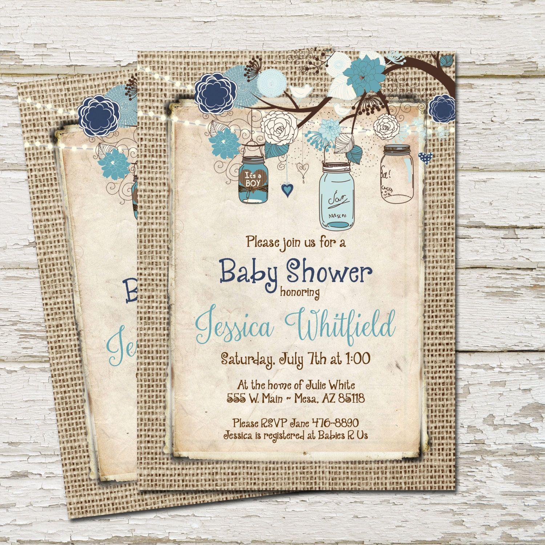 Rustic Baby Shower Invitation, Burlap, Invite, Mason jar, Boy Baby ...