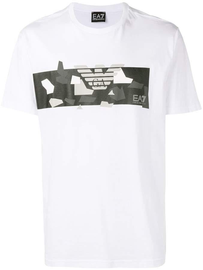 EA7 White Pattern Logo T-Shirt