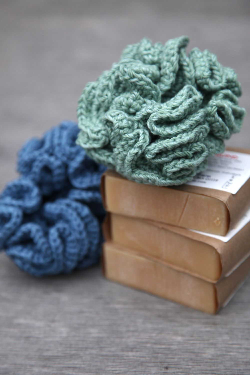 Crocheted bath puffs/kitchen scrubbies paired with a nice bar of ...