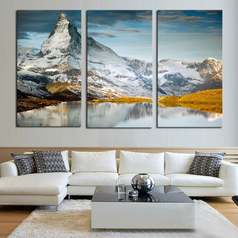 3 Panels Hot Sell Snow Mountain Modern Home Wall Decor Painting Canvas Printing Art Hd Print Paint Wall Decor Painting Canvas Large Canvas Wall Art Canvas Home