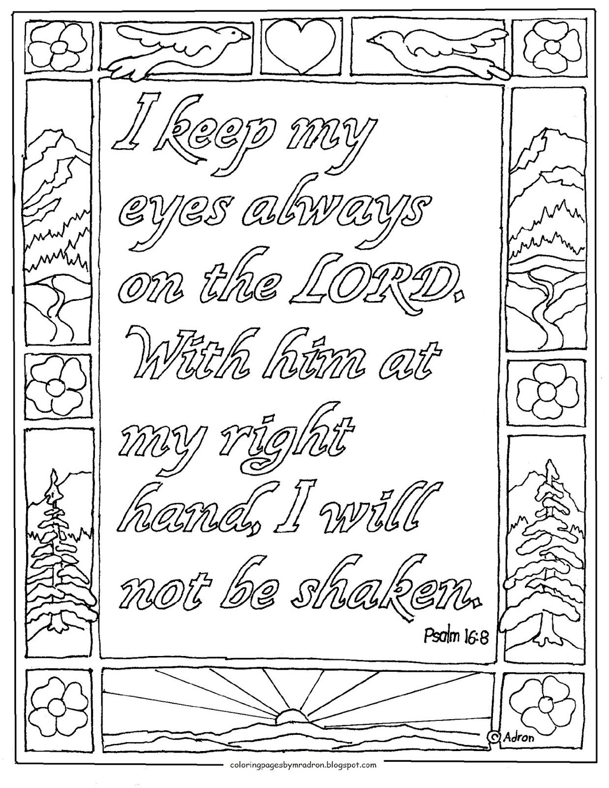 Psalm 16 8 Printable Coloring Page Bible Coloring Coloring Books