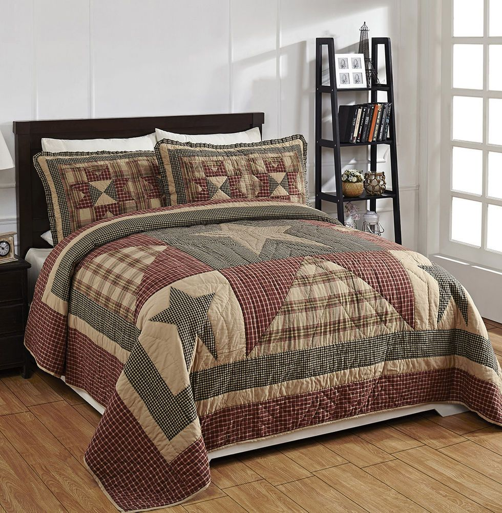 Plymouth Patchwork Quilt Set By Olivias Heartland Burgundy Black Tan King Size Quilt Sets Bedding King Quilt Sets Quilt Sets