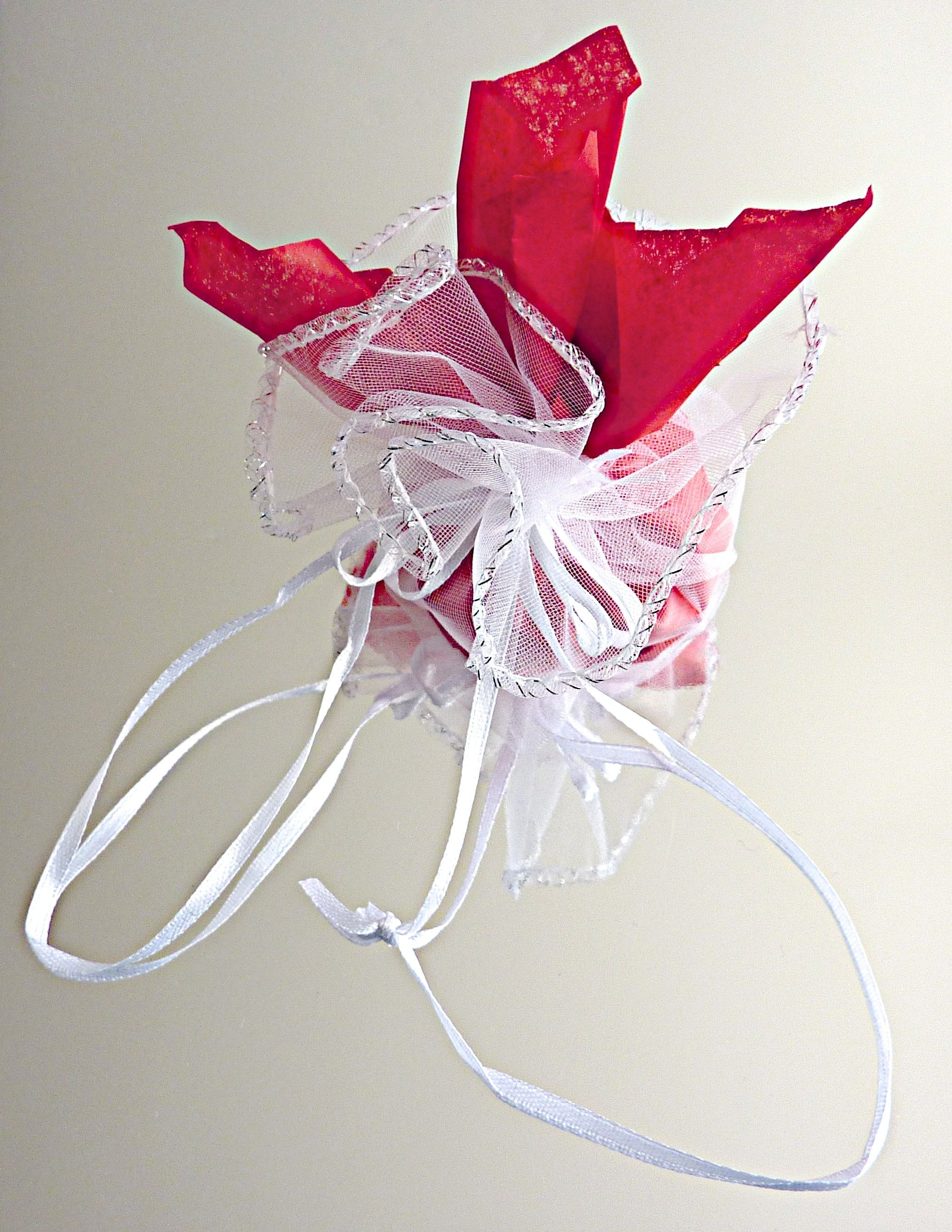 Beautiful gift wrap Red tissue paper presented