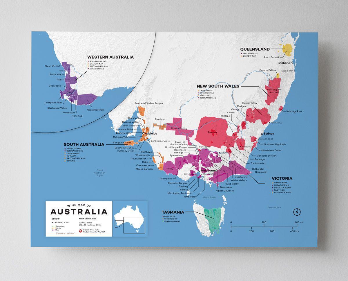 12x16 Australia wine map by Wine Folly