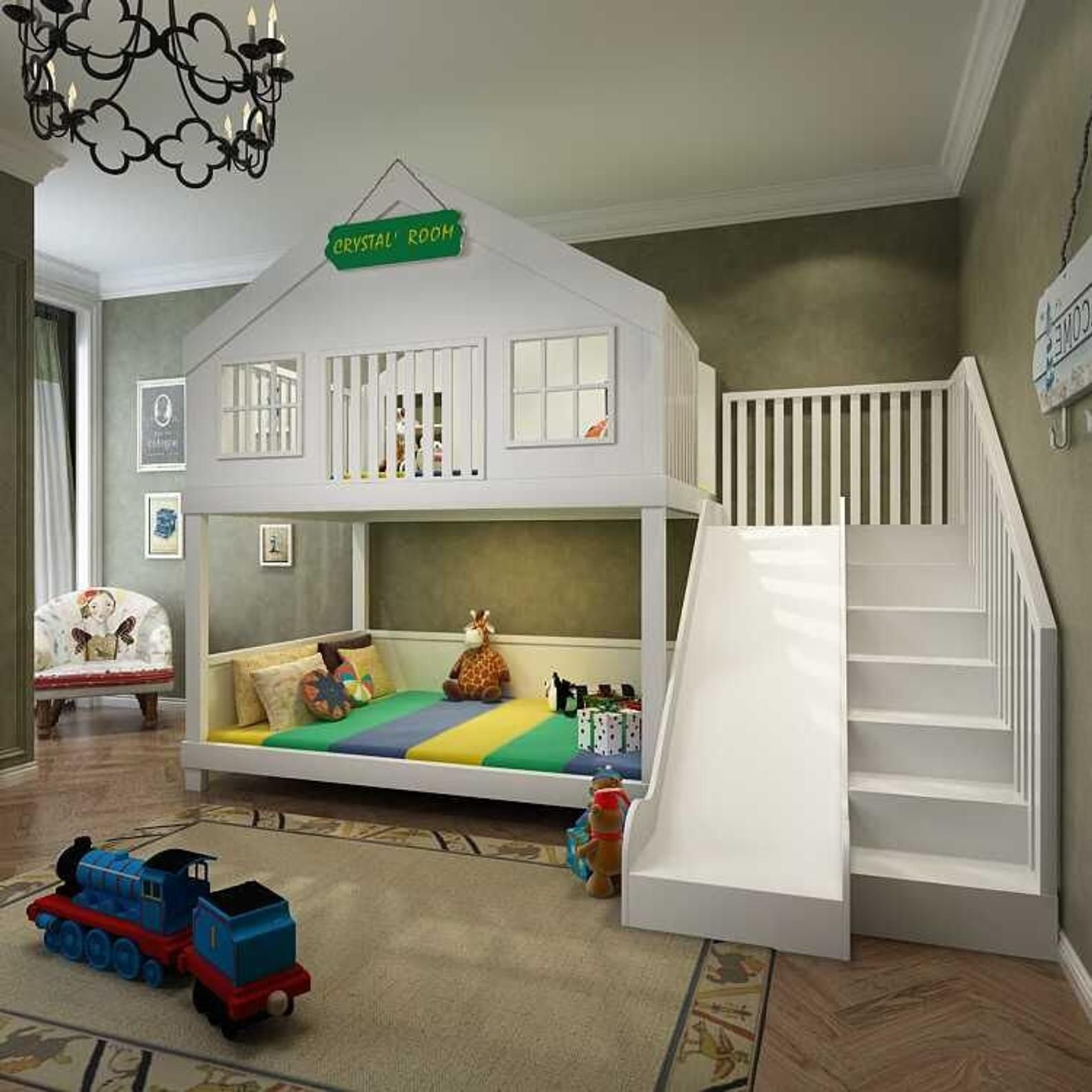 Medium Twin over Full Bunk Bed with Stairs + Slide in 2020 ...