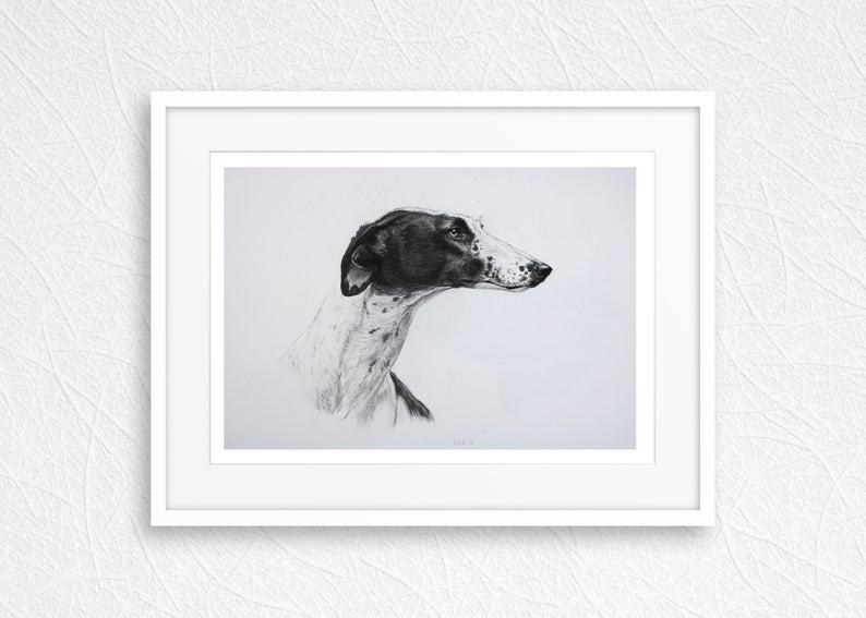 Greyhound Dog Wall Art Print Country Home Decor Black And Etsy In 2020 Dog Wall Art Grey Hound Dog Art Prints