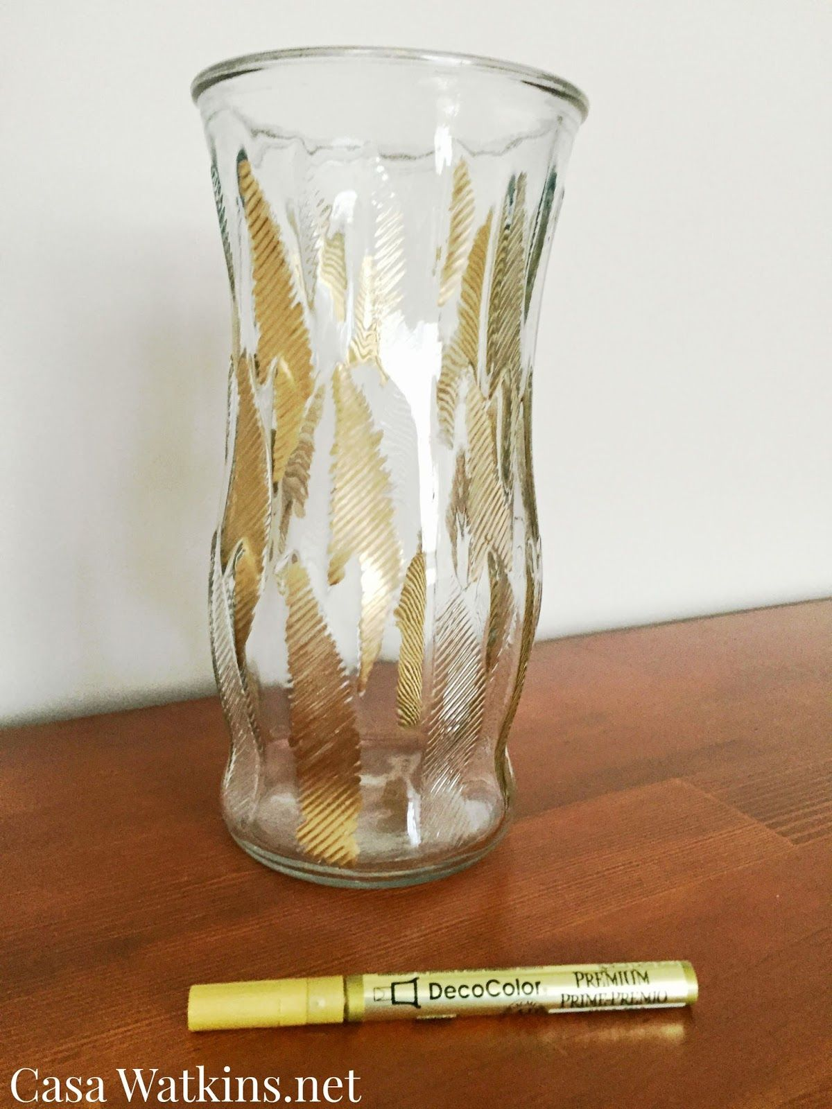 casa watkins diy gold leaf vase makeover craft tutorials vase rh pinterest com
